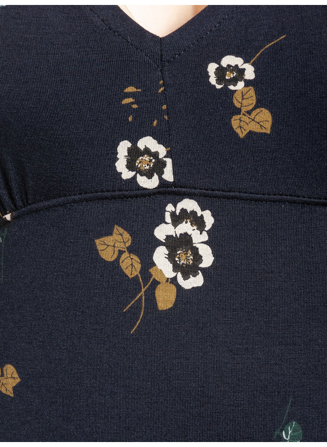 Hidden Garden Damen Langarmshirt - blau allover