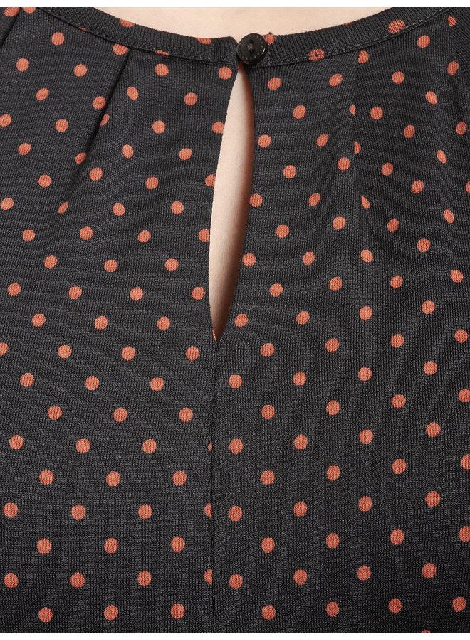Harvest Dots Damen Langarmshirt - dunkelblau allover