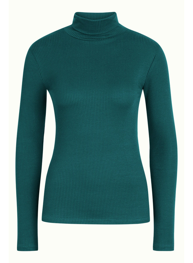 Longsleeve - Rollneck Top Uni Rib Tencel - Antique Green