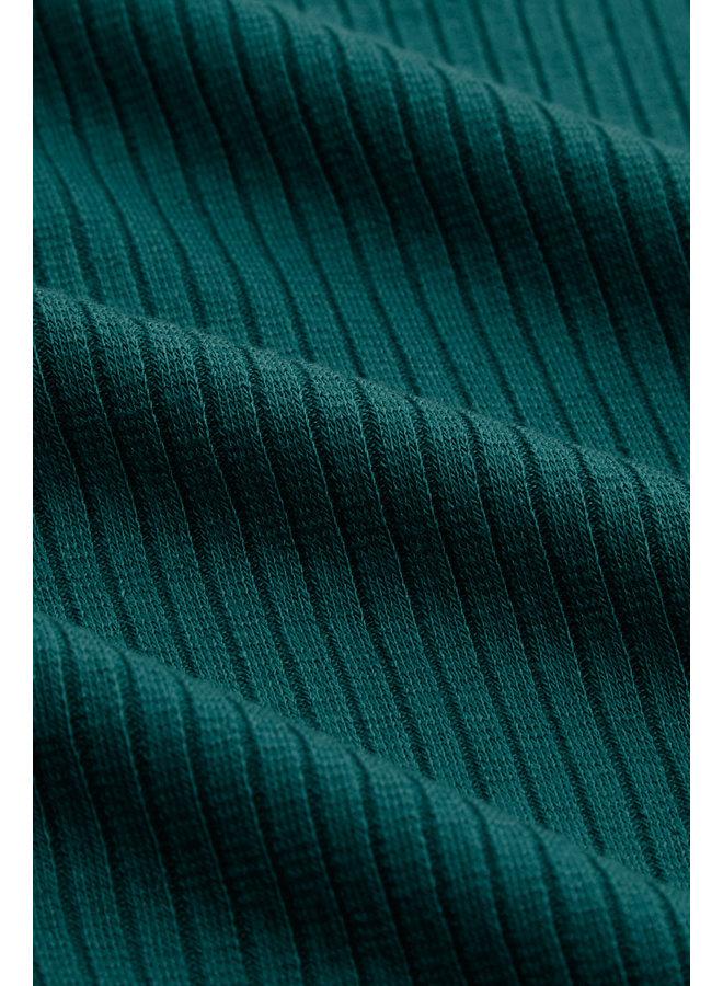 Longsleeve - Lily Top Uni Rib Tencel - Antique Green