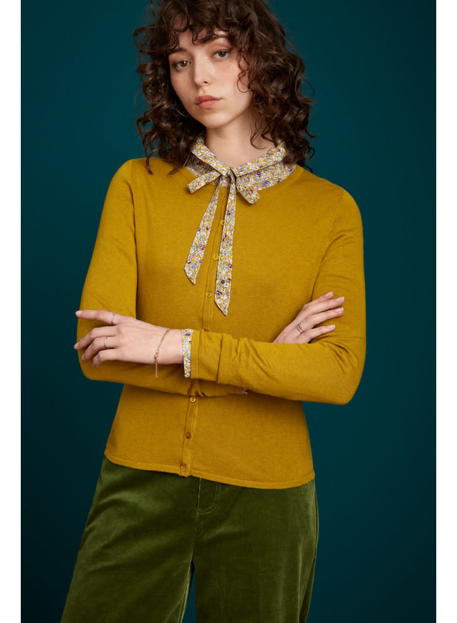 Cardi Roundneck Cocoon - Curry Yellow