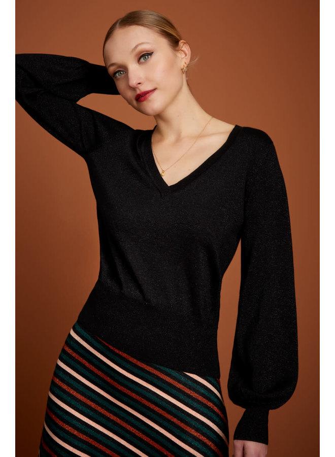 Pullover -  V Neck Bell Sleeve Top Lapis - Black