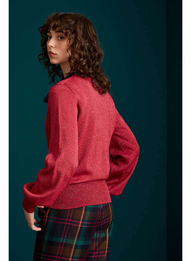 Pullover -  V Neck Bell Sleeve Top Lapis - Lipstick Pink
