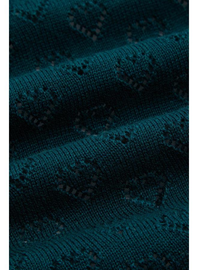 Lange Strickjacke - Cardi Oversize Heart Ajour - Dragonfly Green