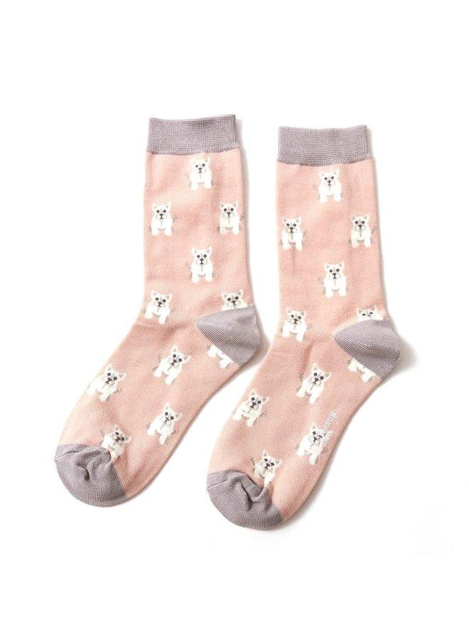 "Damensocken aus Bambus ""Mini Westies"" Dusty Pink"