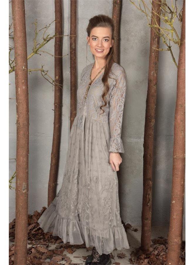 Spitzen Kleid - Kelly - Stone grey