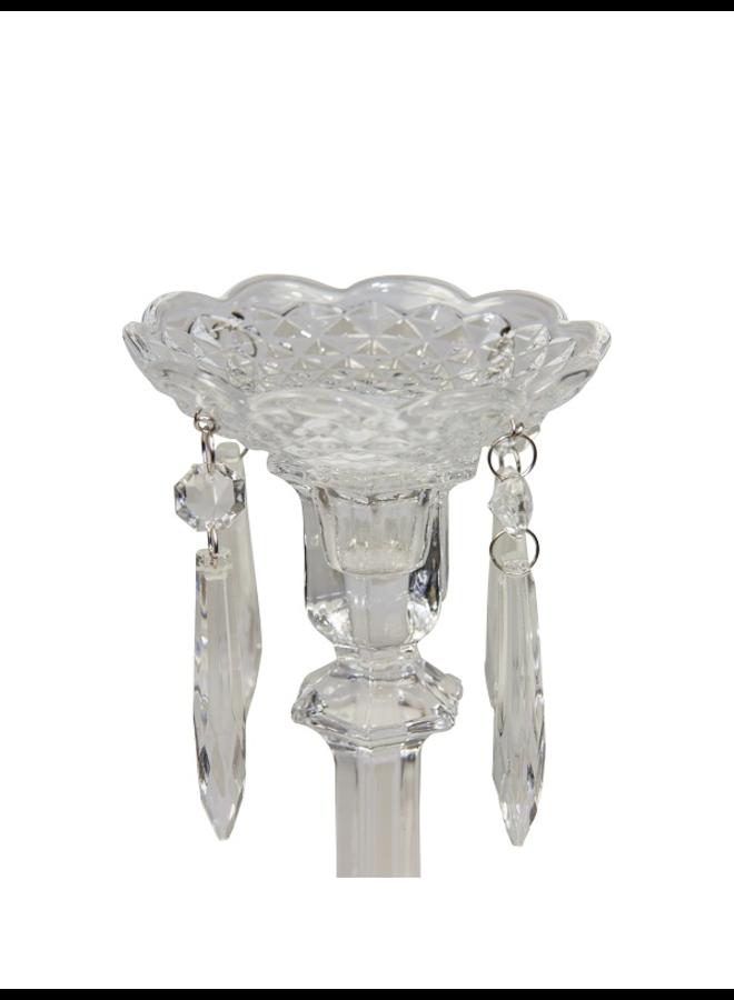 Kerzenmanschette aus Glas mit 4 Kristallen - 10 cm