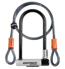 Kryptonite KryptoLok Standard U-lock with 4 foot Kryptoflex cable Black / Silver Standard with 4 ft Kryptoflex