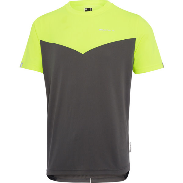 Madison Madison Stellar mens short sleeve jersey, hi-viz yellow / dark shadow