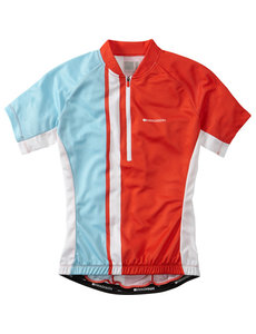 Madison Madison Tour womens short sleeve jersey, chilli red / sea blue