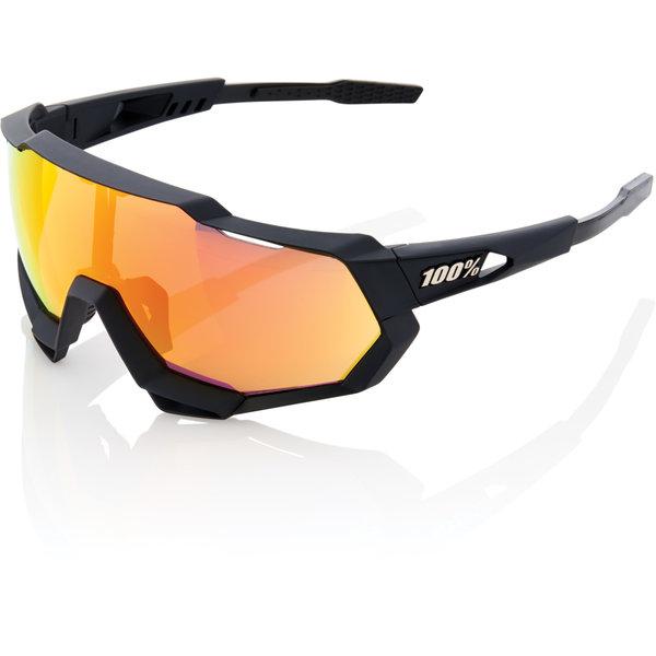 100% Eyewear 100% Speedtrap - Soft Tact Black - HiPER Red Mirror