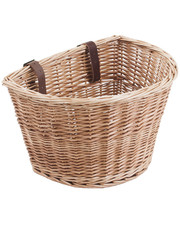 M Part MPart D Shaped wicker basket with leather straps