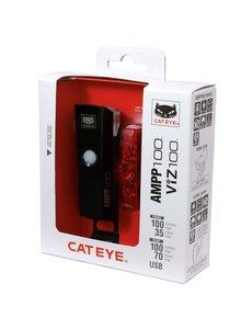 CatEye Cateye Ampp 100 & Viz 100 USB Rechargeable Lights Set