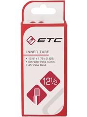ETC Inner Tube 12 1/2 x 1.75 - 2.10, Schrader Valve 45 Degrees Angle, (tube12)