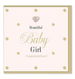 Hearts Design Wenskaart - Beautiful Baby Girl