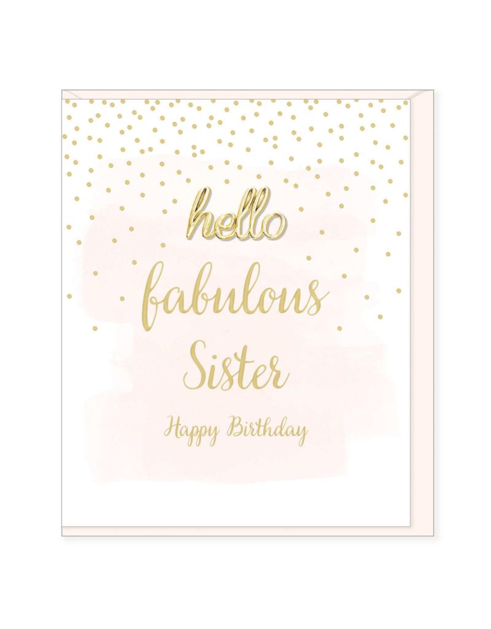 Hearts Design Wenskaart - Fabulous Sister, Happy Birthday