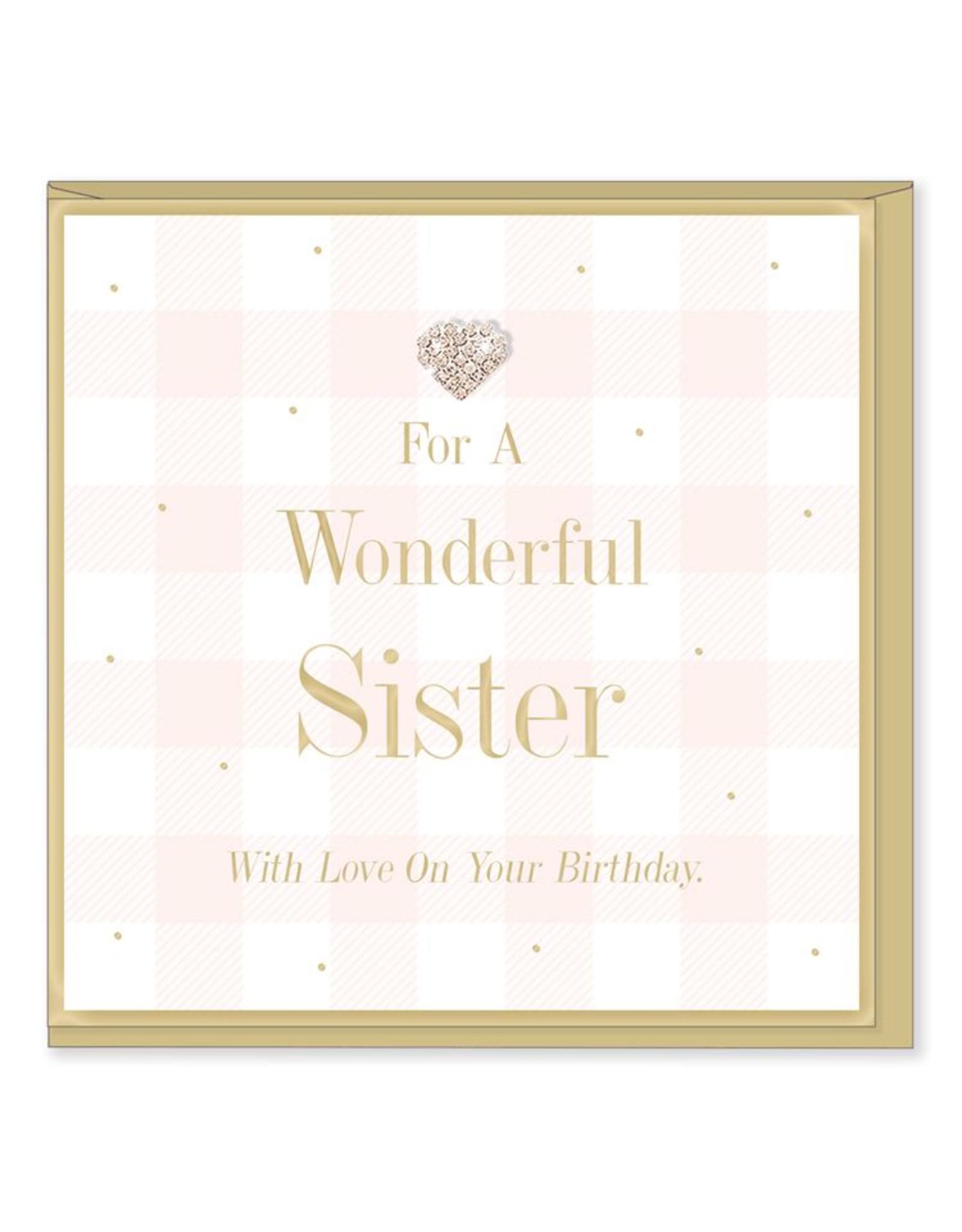 Hearts Design Wenskaart - Wonderful Sister - Birthday