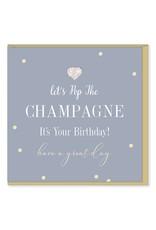 Hearts Design Wenskaart - Pop the Champagne - Birthday