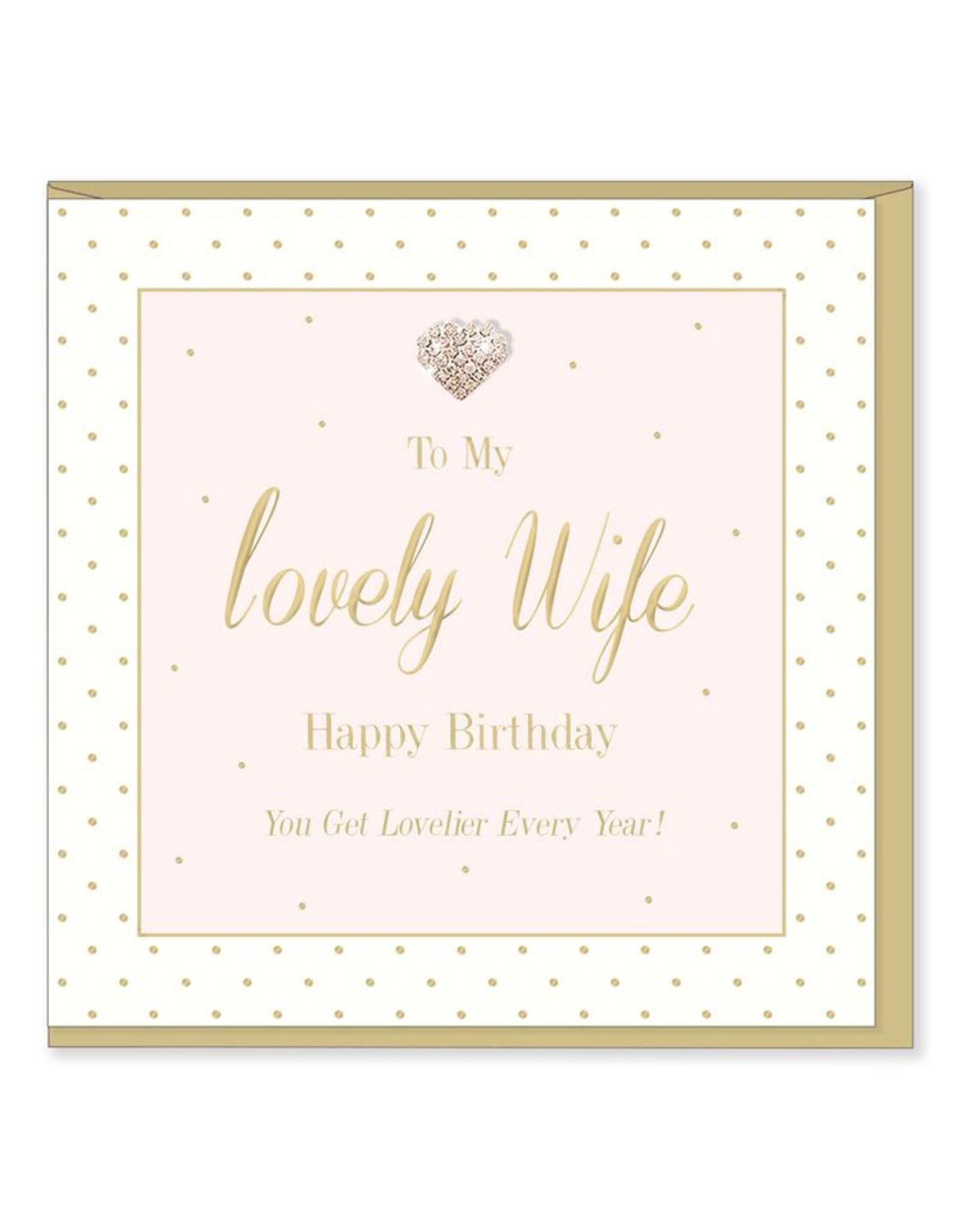 Hearts Design Wenskaart - Lovely Wife - Birthday