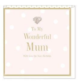 Hearts Design Wonderful Mum - Birthday