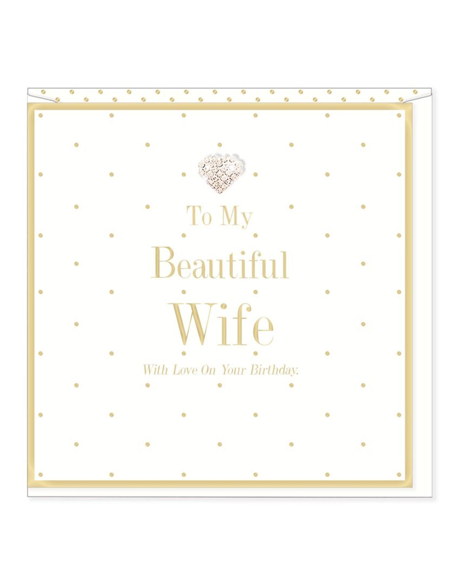 Hearts Design Wenskaart - Beautiful Wife - Birthday