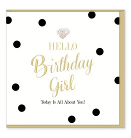 Hearts Design Wenskaart - Hello Birthday Girl