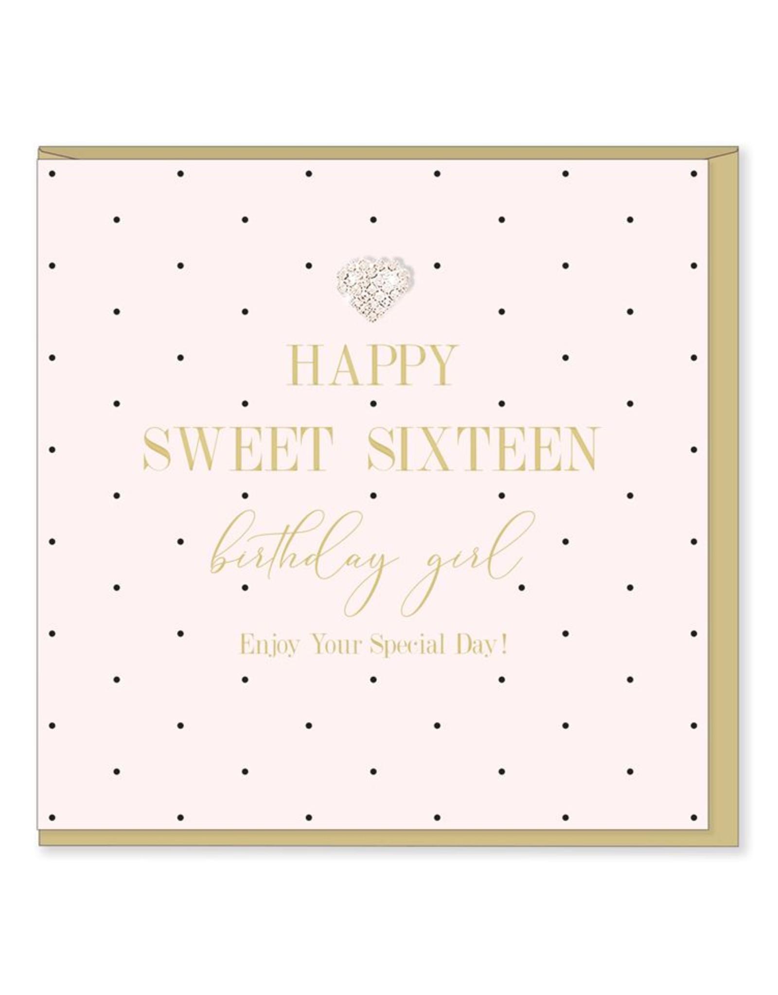 Hearts Design Wenskaart - Sweet Sixteen