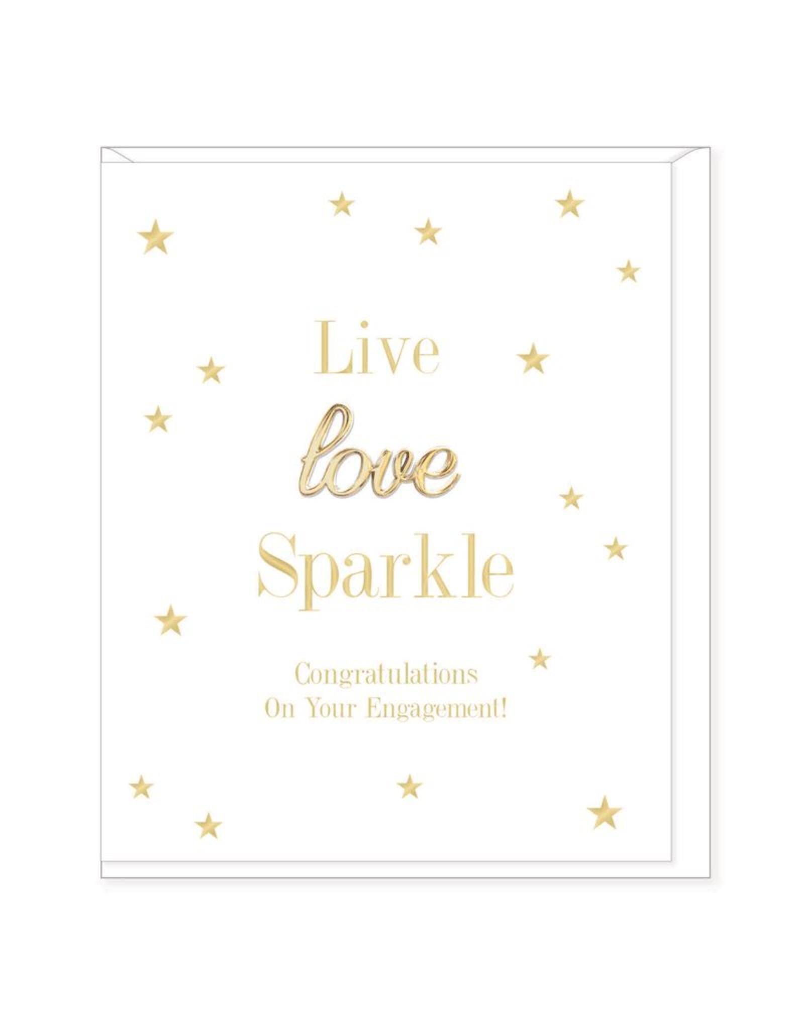 Hearts Design Wenskaart - Live, Love, Sparkle - Engagement