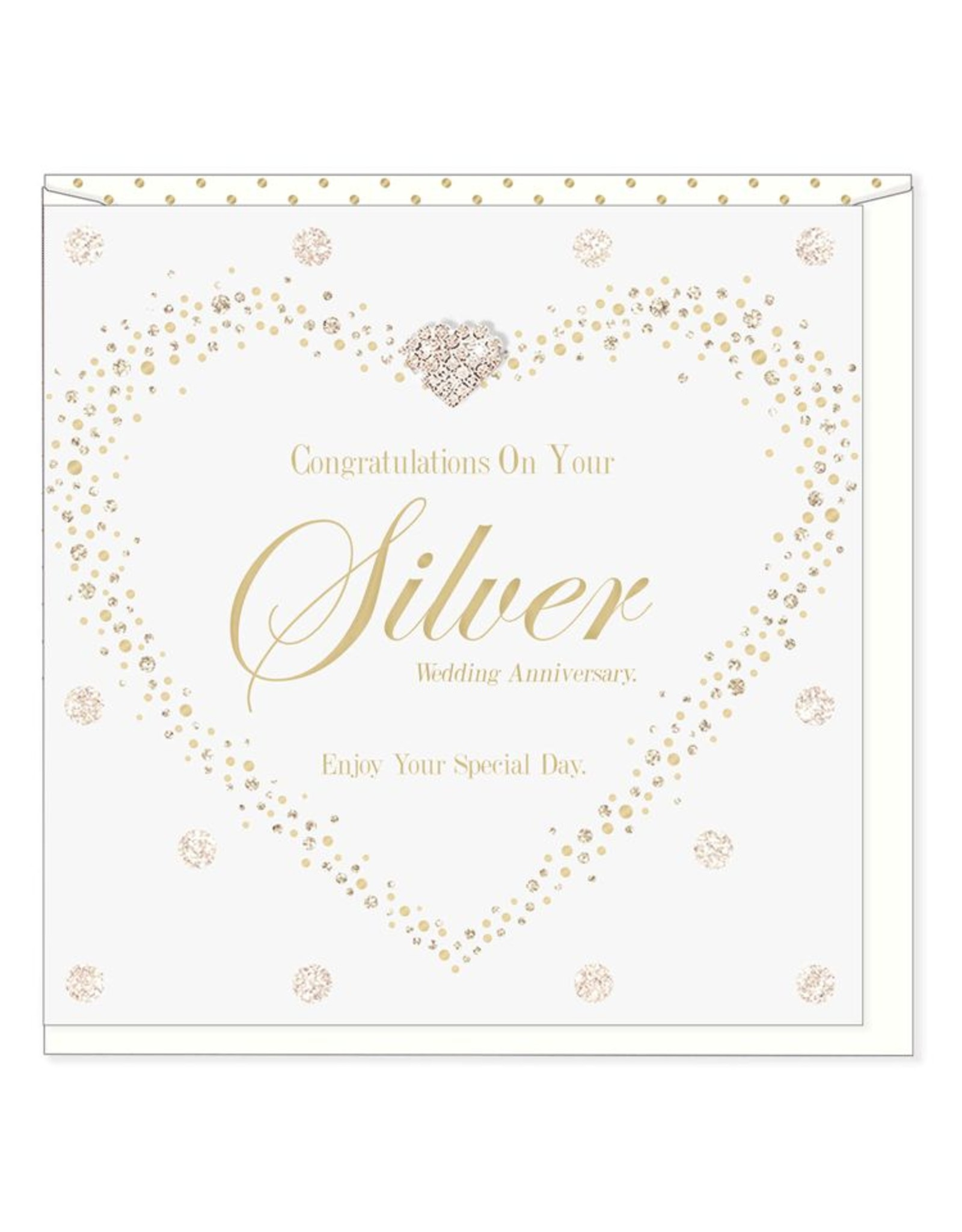 Hearts Design Silver Wedding Anniversary
