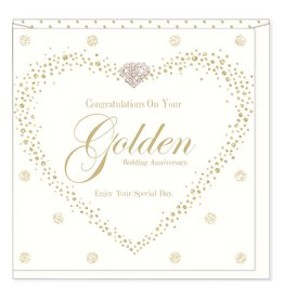 Hearts Design Golden Wedding Anniversary