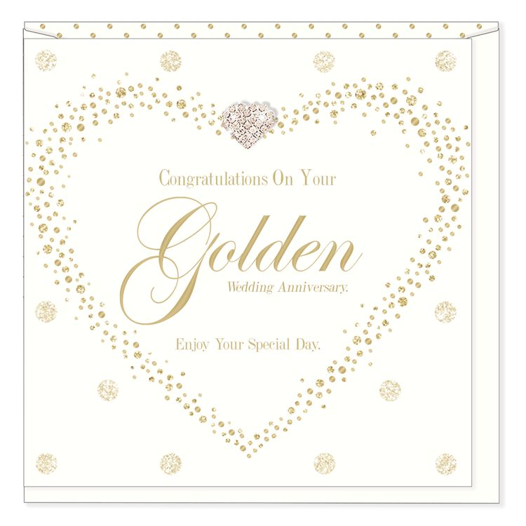 Hearts Design Golden Wedding Anniversary