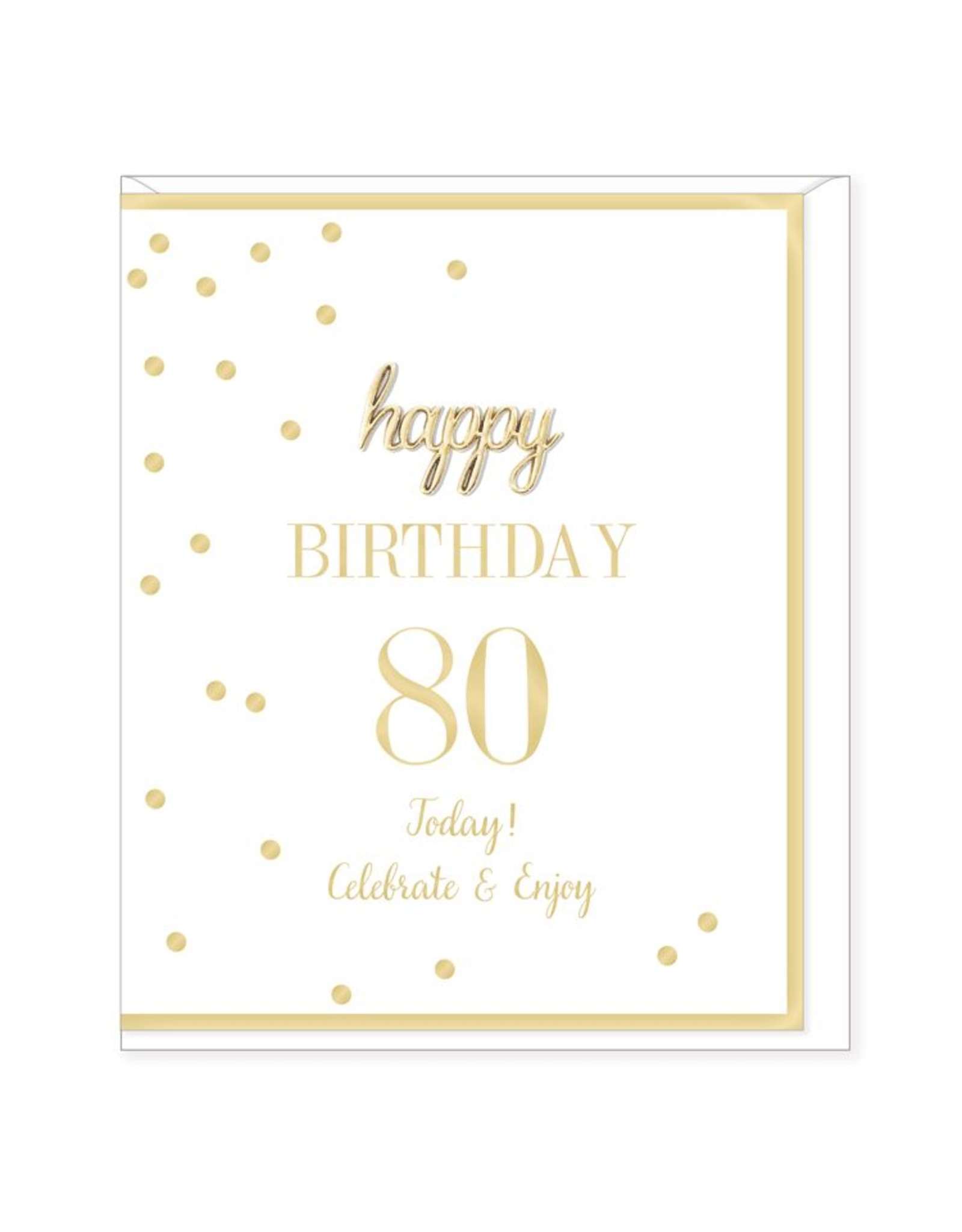 Hearts Design Wenskaart - Happy Birthday - 80