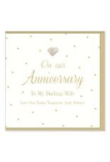 Hearts Design Wenskaart - To my Darling Wife - Anniversary