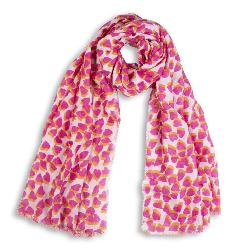 Katie Loxton Sjaal - Heart - Pink/Orange