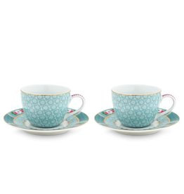 Pip Studio Blushing Birds - Espresso Blue - Set van 2