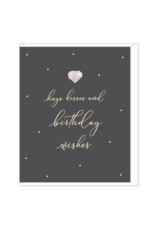 Hearts Design Wenskaart - Hugs & Kisses - Birthday Wishes