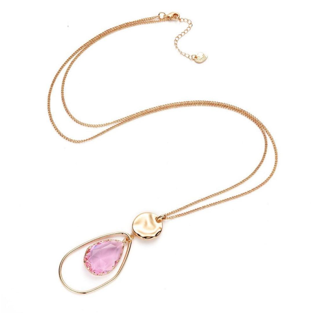 Bizou Ketting - Gold Stone Pink