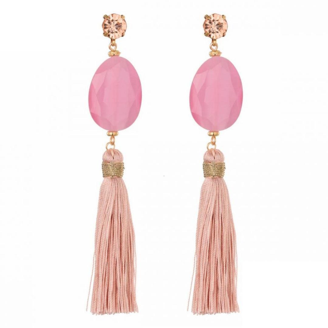 Bizou Oorbellen - Tassel Pink