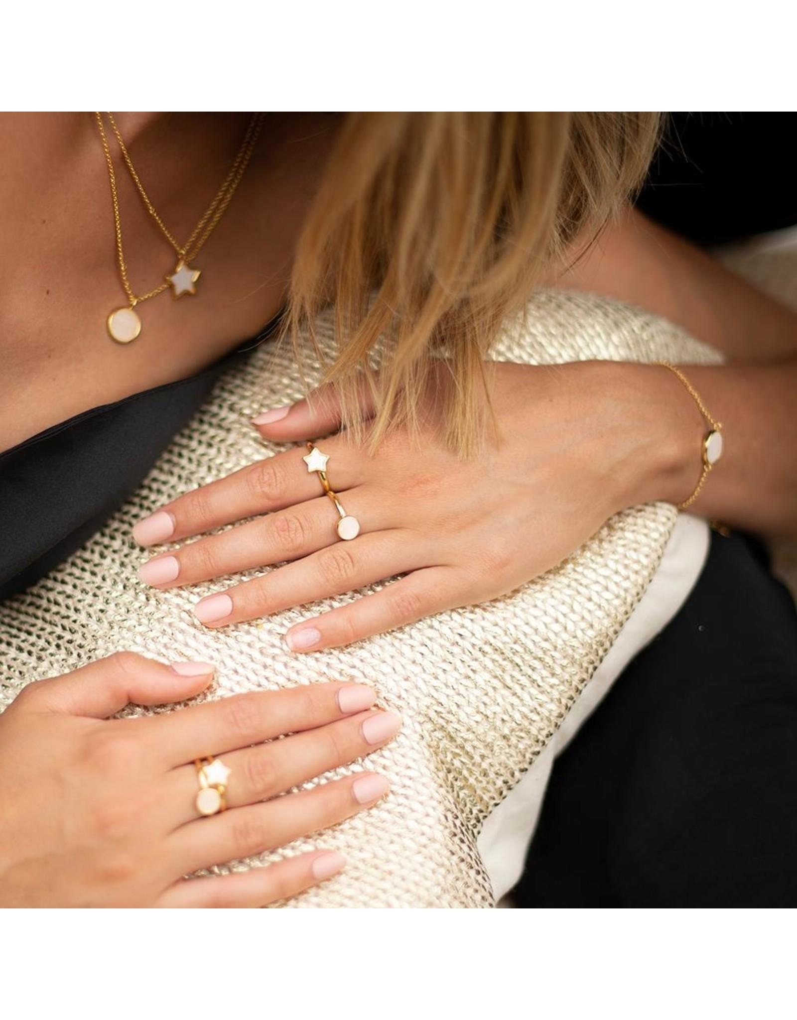 Joma Jewellery Shona Shell - Star Ring Goud