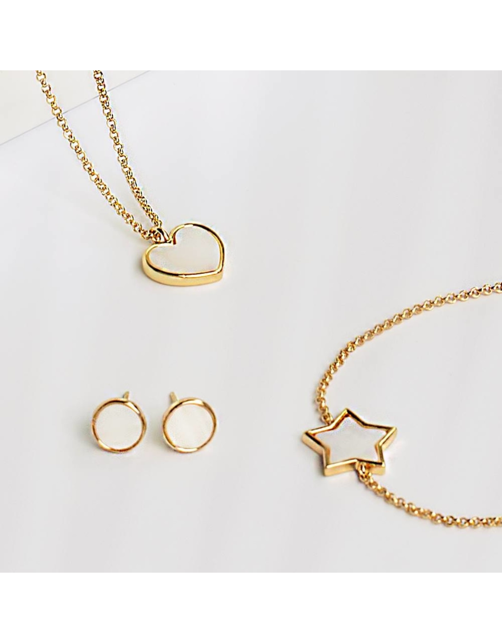 Joma Jewellery Shona Shell - Star Oorbellen Goud