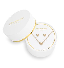 Joma Jewellery Juwelenset - Heart of Gold - Ketting & Oorbellen Goud