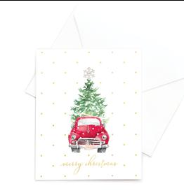 Hearts Design Wenskaart - Merry Christmas - Car