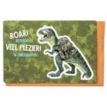 Enfant Terrible Wenskaart - Roar betekent Veel Plezier in Dinosaurus