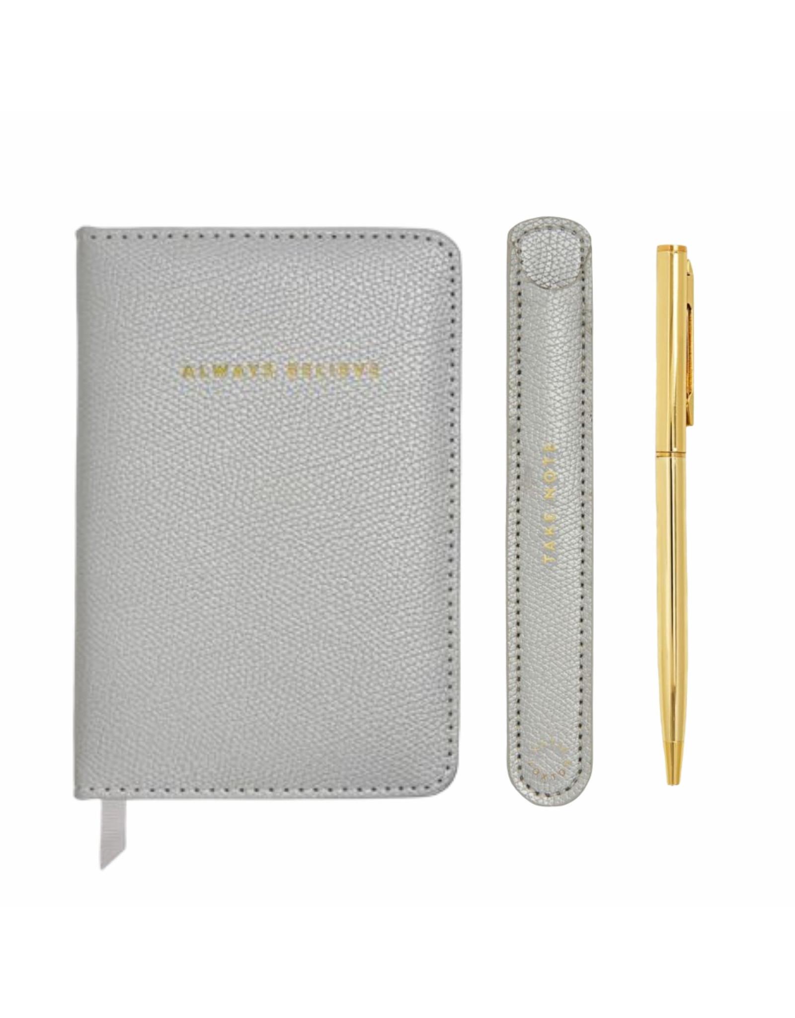 Katie Loxton Mini Notitieboek & Balpen - Zilver