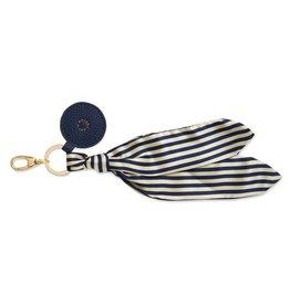Katie Loxton Bag Charm - Scarf Navy Stripe