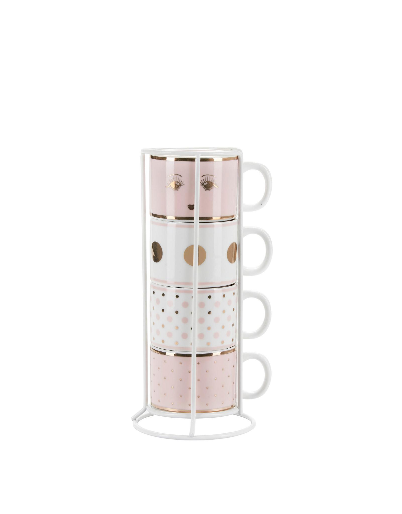 Miss Etoile Espresso Tassen in Houder - Pastel Pink