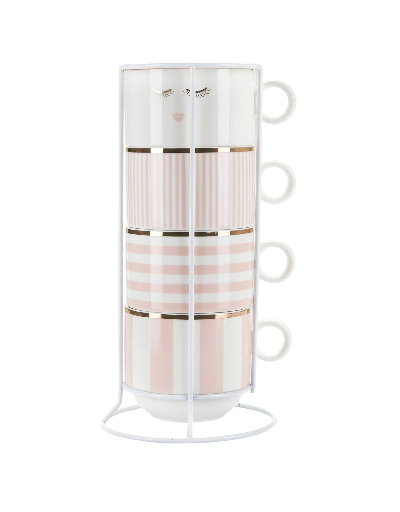 Miss Etoile Tassen in Houder - Pastel Pink