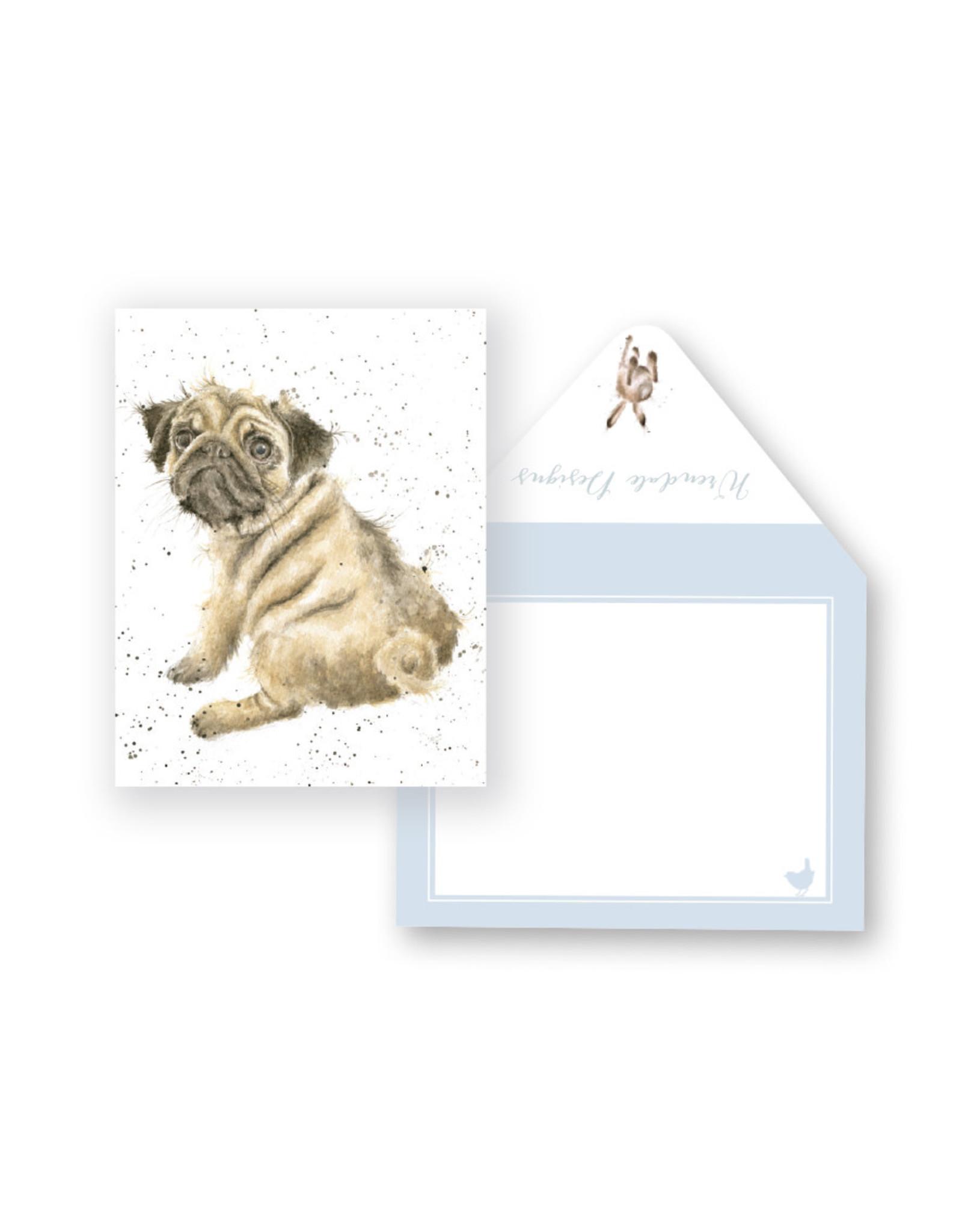 Wrendale Mini Wenskaart - Pug Love