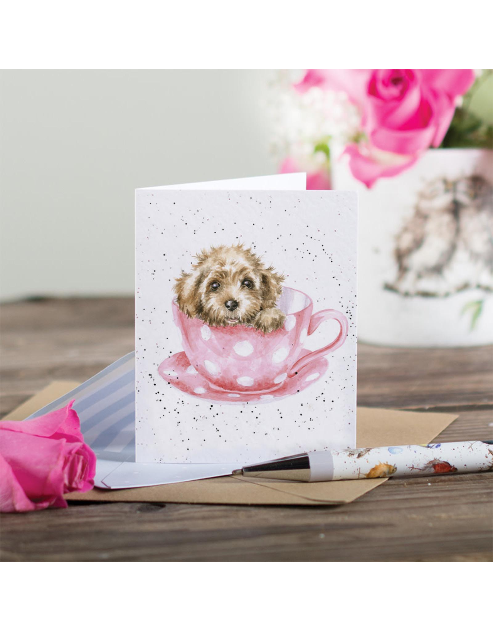 Wrendale Mini Wenskaart - Teacup Pup