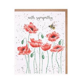 Wrendale Wenskaart - Poppies and Bee
